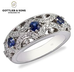 This ‪#‎vintage‬ inspired diamond ‪#‎sapphire‬ ring will become a timeless classic. Visit your local ‪#‎GottliebandSons‬ retailer and ask for style number 28902B. http://www.gottlieb-sons.com/product/detail/28902B