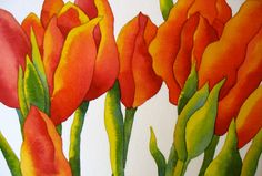 White Tulip Watercolor Painting | The Painted Prism: WATERCOLOR PROJECT, STEP-BY-STEP: Red Tulips with ...
