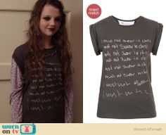 "Dorrit's ""I must not swear in class"" tee on The Carrie Diaries.  Outfit details: http://wornontv.net/12219/"