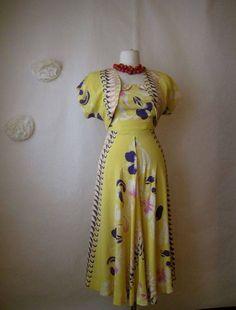 vintage kamehameha hawaiian silky rayon dress and bolero jacket set. Vintage Hawaiian Shirts, Bolero Jacket, Summer Wear, Vintage Designs, Beautiful Dresses, Short Sleeve Dresses, 50s Vintage, My Style, How To Wear