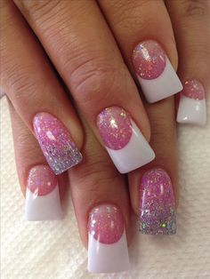 French Nails Glitter, French Manicure Nails, White Acrylic Nails, Sparkle Nails, Nail Nail, Nail Polish, Pink Nail Designs, Acrylic Nail Designs, Nails Design