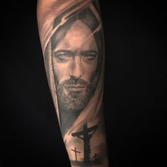 the detailing on this is impeccable! Hand Tattoos, Mom Tattoos, Forearm Tattoos, Body Art Tattoos, Tattoos For Guys, Jesus Tattoo, Mary Tattoo, Religion Tattoos, Catholic Tattoos