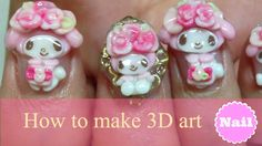 【3D nail art】How to make my melody nail tutorial