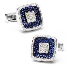 Pave Sapphires & Diamonds Square Cufflinks