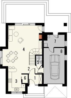 Projekt domu Bella 4 - rzut parteru Home Fashion, Bella, Floor Plans, House Styles, Balcony