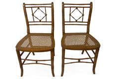 English Faux-Bamboo Side Chairs, Pair | Vintage Style | One Kings Lane
