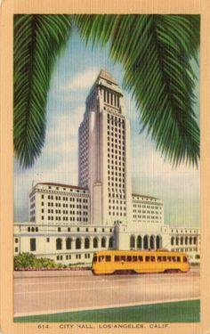 Vintage postcard of City Hall in Los Angeles, California