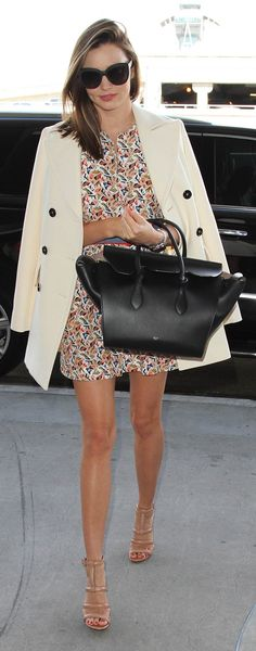 Miranda Kerr printed dress with white coat