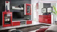 Meblościanka Timber 1 to oryginalny zestaw, która swoim designem przyciąga uwagę, podkreślając nowoczesność wnętrza, występuje w dwóch opcjach kolorystycznych biały/czerwony oraz czarny/sahara z frontami z efektem 3D.