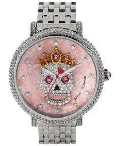 Betsey Johnson Women's Silver-Tone Bracelet Watch 48mm BJ00396-05