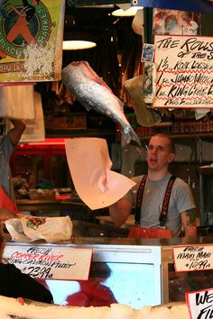 Pike Place's Flying Fish Market, Seattle, WA   Watchin these guys throw the fish brings a smile to my face every time!