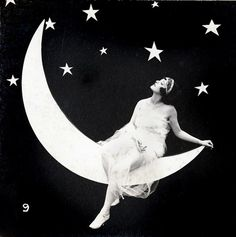 crescent moon and full woman