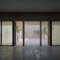 View of one of the courtyards in the Liangzhu Culture Museum by David Chipperfield Architects.