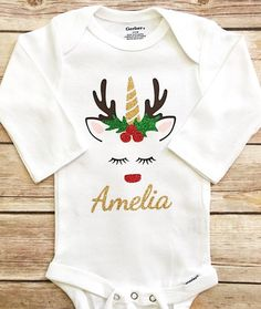 Your place to buy and sell all things handmade Christmas Unicorn, Babys 1st Christmas, Stocking Decorating, Decorating Ideas, Girls Christmas Shirts, Iron On Vinyl, Baby Onesie, Holiday Outfits, Xmas