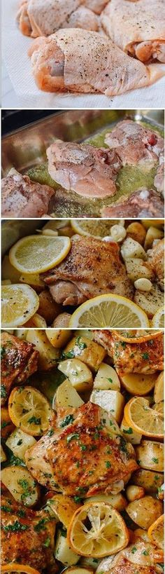 Roasted Lemon Chicken Thighs with Potatoes recipe SO EASY and SO TASTY!
