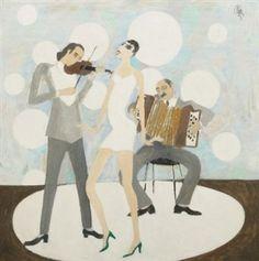 Constantin Piliuţă Music, 1983 oil on canvas 65 × 65 cm Oil On Canvas, Auction, Romania, Music, Artwork, Painting, Fictional Characters, Art Work, Work Of Art