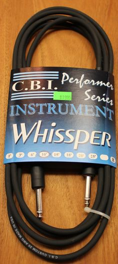 "C.B.I. Whissper Classic Double Heat Shrink 10' 1/4"" 22 Gauge Instrument Cable Black"
