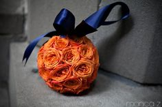 Monica Z Photography. Vale of Enna Flowers. Pomander. Spray Rose. Orange. Chicago Wedding.
