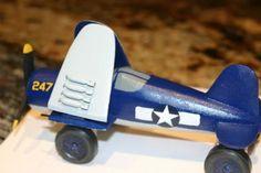 Pinewood Derby Car Corsair Plane folded