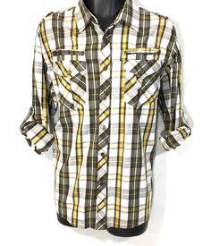 7bc567c564 Mens Plaid Shirt Size L / 100% Cotton Brown White Gold Adjustable Sleeve  Top #