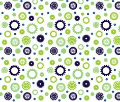 Cuteness Gears White fabric by jenimp on Spoonflower - custom fabric