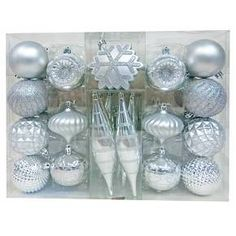 40ct Fashion Silver Shatterproof Christmas Ornament Set - Wondershop™ : Target