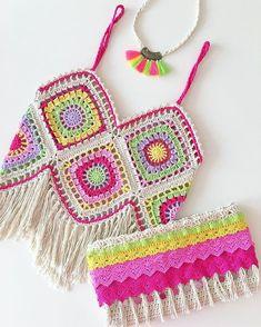 Crochet summer tops boho necklaces 17 New ideas Crochets En Crochet, Mode Crochet, Crochet Crop Top, Crochet Cardigan, Hand Crochet, Crochet Summer Tops, Crochet For Kids, Diy Crafts Crochet, Crochet Projects
