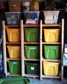 DIY storage rack for plastic totes.  Mine are in the garage neatly tacked on top of each other ... problem... I always want the one on bottom... other prob sometimes that one cracks from the weight above it. This would solve it!