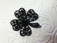 Black WEISS Four Leaf Clover Brooch w Jet by GiltyGirlVintage, $39.00 #vintage #jewelry #Fashion