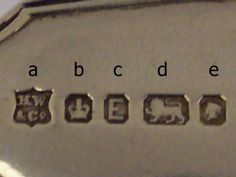 British Hallmarks. Explanation of Hallmark Recognition:  a – Maker's Mark  b – Assay Mark (Early Sheffield)  c – Date Letter  d – The Sterling Mark  e – The Duty Mark (monarch's head) Web address: http://www.acsilver.co.uk/shop/pc/British-Silver-Hallmarks-d84.htm