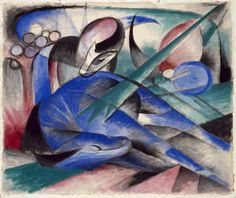 Franz Marc, Dreaming Horse, 1913. Watercolor, gouache, ink, and graphite on paper, 15 1/2 x 18 7/16 inches (39.6 x 46.8 cm)