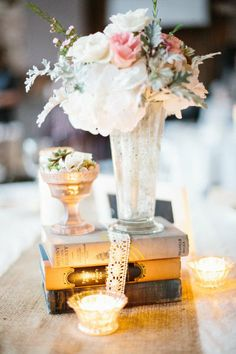 Love this whole look. The florals on a 'pedestal' surrounded by lace and candles  Style Me Pretty | Gallery