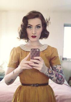 Mustard dress and cute makeup