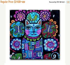 60% Off Today- Cat art Tile Ceramic Coaster Mexican Folk Art Print of painting by Heather Galler