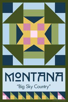 Olde America Antiques | Quilt Blocks | National Parks | Bozeman Montana : 50 STATE QUILT BLOCK SERIES - MONTANA - version 2