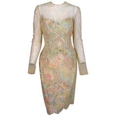 1990s Vera Wang gold lace & Swarovski crystal cocktail dress | 1stdibs.com