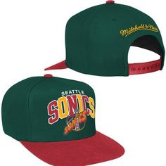 Seattle Sonics Mitchell & Ness NBA HWC Arch W/ Vintage Logo Tri-Pop Snapback Hat by Mitchell & Ness. $25.99. Raised embroidery on front. 80% acrylic, 20% wool adjustable snap back cap. Gray undervisor. Mitchell & Ness wordmark embroidered on back. Multi-colored arch wordmark on front. Show off your style and true fanhood for your favorite team on the hardwood in the Mitchell & Ness NBA Tri-Pop Snapback. This fresh new cap features a multicolored arch wordmark and a contr...