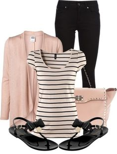 Spring Polyvore Outfit - I don't usually like pink, but the pink and black look great together!