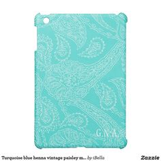 Custom add your own monogram initials damask vintage henna paisley print girly turquoise aqua blue preppy floral chic pattern retro, yet modern hollywood regency Case Savvy matte personalized ipad mini case cover.