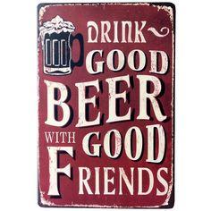 Blechschild kaltes Bier Hier Bier Werbung Metall Poster Schild plauqe Wanddekoration für Vintage Retro Bar Pub, metall, F, Einheitsgröße