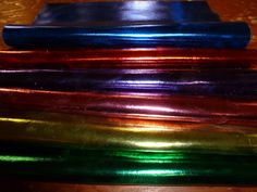 """Leather 12""""x12"""" Bright METALLIC Foil Choose your color Cowhide 2.5 to 3oz / 1-1.2 mm PeggySueAlso?"""
