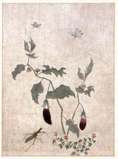 (Korea) Folder screens by Lady Shin Saimdang (1504- 1551). 48.6× 35.9cm. color on silk. Ojukheon Museum.