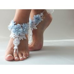 Free Ship white lace beach wedding barefoot sandals, light blue... (2.190 RUB) ❤ liked on Polyvore featuring shoes, sandals, white lace sandals, light blue sandals, flower sandals, beach sandals and flower shoes
