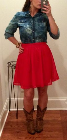 full skirt. (classic pieces such as full skirts create an instant dash of flash. the bright, red hue of this particular full skirt adds a fun touch to this ladylike inspired outfit. put your own unique, personal twist on this classic, ladylike look by pairing the full skirt with a lightly tie-dyed denim shirt and broken in cowboy boots. pout, pucker, and bat your eyes because your girly, glam look will be turning heads all day!)