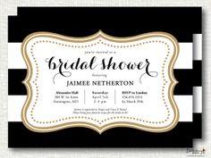 Bridal Shower Invitation Floral Black White Stripe Bridal