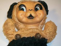 Vintage Gund  rubber face  Stuffed doll toy  Bear Rabbit Brown & Black With Bells can be for rushton collection. $25.00, via Etsy.