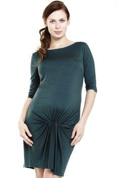 Robe grossesse habillée froncé vert Frown FRAGILE Détail Photo