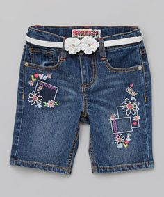 Look what I found on #zulily! Medium Denim Daisy Belted Bermuda Shorts - Girls by Squeeze #zulilyfinds