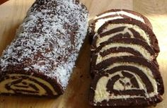 Biscuit roulade with cream of coconut: For 2 Sheets: 500 g Pettit beurre biscuits 400 ml milk 50 g cocoa tablespoons of sugar -cream: 1 packet of butter 100 g grated coconut 200 g powdered sugar vanilla Romanian Desserts, Romanian Food, Romanian Recipes, Waffle Cake, Keto, Sweet Treats, Deserts, Food And Drink, Cooking Recipes