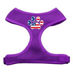 Mirage Pet Products Paw Flag USA Screen Print Soft Mesh Dog Harnesses, Large, Purple >>> Click image to review more details. (This is an affiliate link and I receive a commission for the sales)
